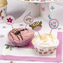 Little Owls Pink Cupcake Picks (20)